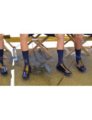 Endura's Drag2Zero speedsuit extends to the Movistar Team's overshoes
