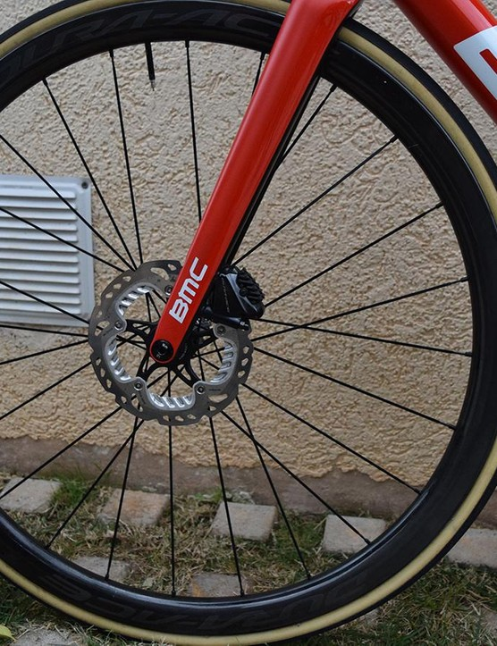 Several BMC riders have been training on disc-equipped bikes, but opt for non-series disc rotors as opposed to the Dura-Ace versions