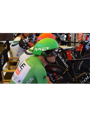 Alexander Kristoff raced the stage wearing the green jersey (as a skinsuit)