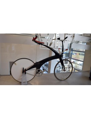 One of Bioracer's concept bicycles, which you steer with your shoulders and rest your hands by your saddle to cut through the wind