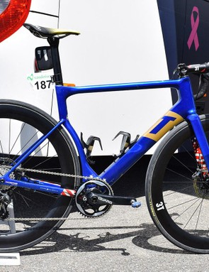 Larry Warbasse's 3T Strada in custom colours for the US national road race champion