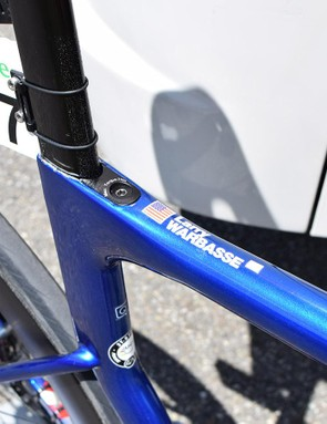 Warbasse's name adorns the top tube