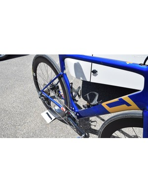 The main area of custom design for Warbasse's bike is around the bottom bracket area