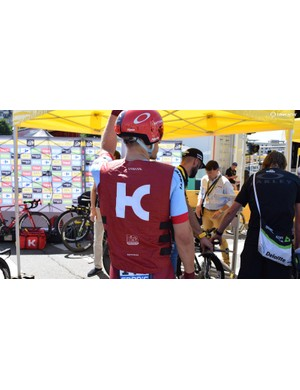 Marcel Kittel's Katusha-Alpecin team are another team to line up ahead of the stage with team-issue ice vests