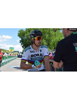 Peter Sagan raced some of the stages with 100% Speedcraft Air sunglasses, which use magnets to keep your nasal passages open
