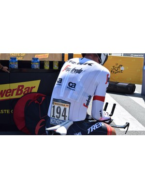 A look at the rear of John Degenkolb's Santini speedsuit including the integrated race number holder