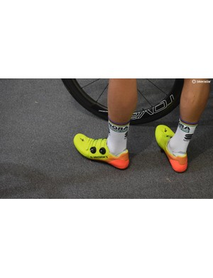 Peter Sagan and his Bora-Hansgrohe teammates are mostly wearing these eye-catching yellow and orange fluoro fade new S-Works shoes