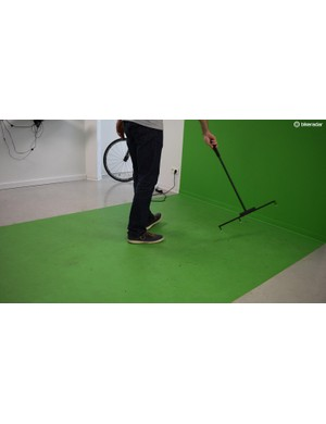 A rake device is used to calibrate the cameras ahead of each session