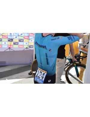 Astana's Giordana speedsuit has a zip at the rear of the piece to improve aerodynamics