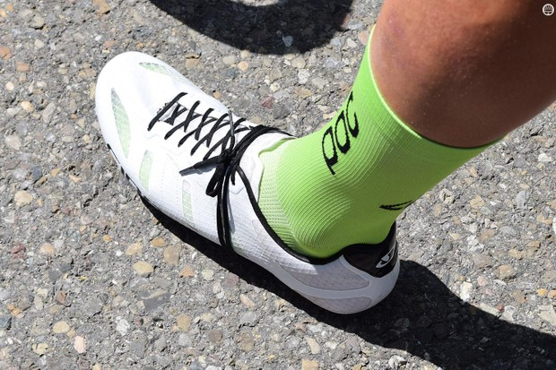 Taylor Phinney has his own style of Giro shoes