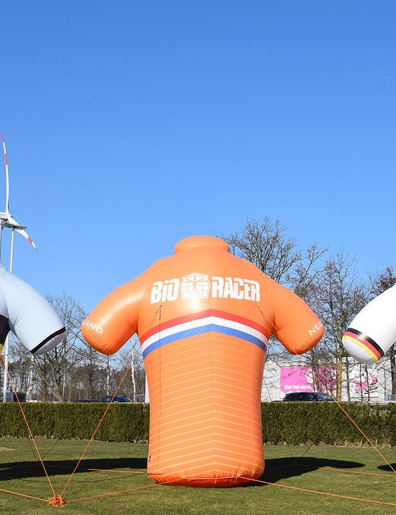 Bioracer celebrating the national teams it supports during the track world championships