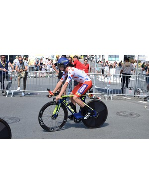Dion Smith wore the polka dot jersey for the stage
