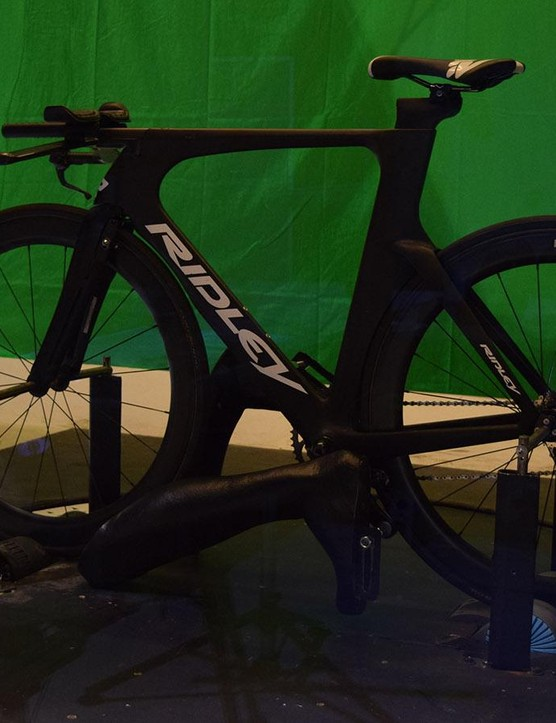 A Ridley Dean TT bike was in position at the Flanders Bike Valley wind tunnel