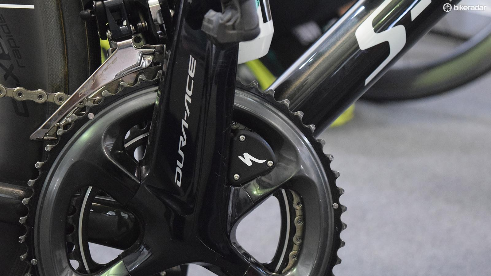 The power meter is decorated with the iconic S from Specialized