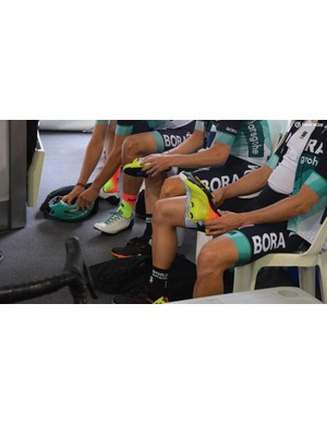Sportful has made socks in a fluoro finish to match the finish on the new S-Works shoes
