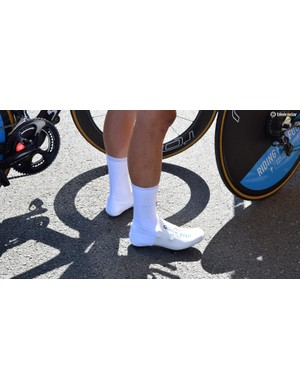 Quick-Step Floors' riders each wore team-issue oversocks