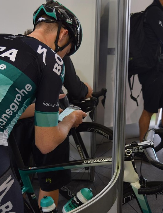 Sam Bennett pairs the power meter with his iPhone ahead of a training ride