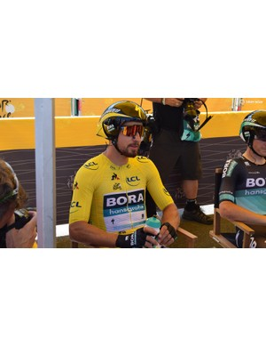 Peter Sagan sits in the stage ahead of heading to the start ramp