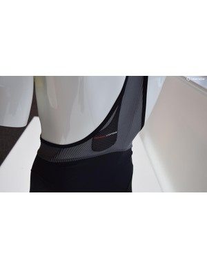 The striped mesh runs around the back of the body up to the shoulders