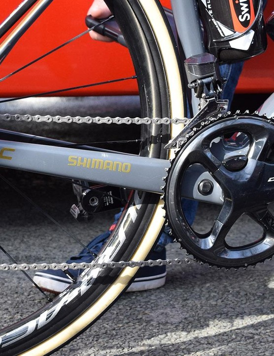 Shifting and braking for Van Avermaet's BMC was provided by a Shimano Dura-Ace R9150 groupset