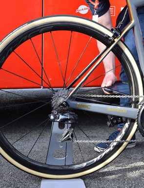 Van Avermaet opted for the 40mm versions of Shimano's Dura-Ace R9100 wheels