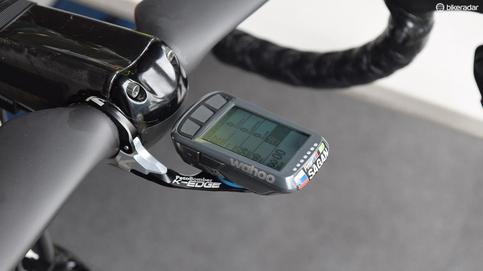 Bora-Hansgrohe pair the Specialized power meters with a  Wahoo Elemnt Bolt computer and K-Edge mount
