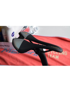 Specialized has also given Peter Sagan's saddle the world champion custom treatment