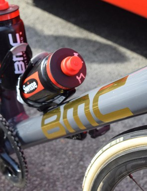 The bike features a grey basecoat, highlighting the gold decals throughout the frameset