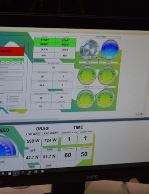 Live data includes fan performance, wind speed and real time drag