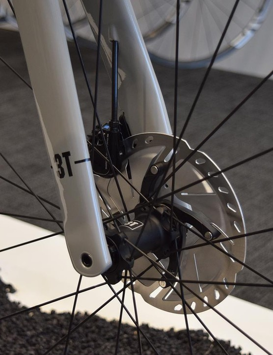 The disc-only bike runs thru-axles front and rear