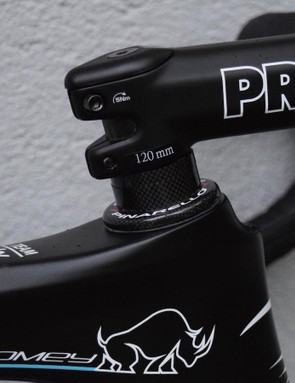 Froome's bike is setup with 15mm of spacers under his stem