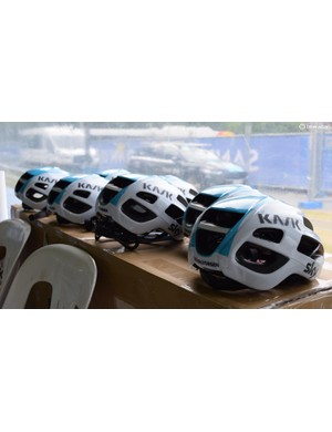 Team Sky have gone for a white and blue finish on their Kask Protones for 2018 to match their updated jersey design