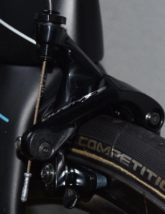 A closer look at the front brake, with carbon specific brake pads