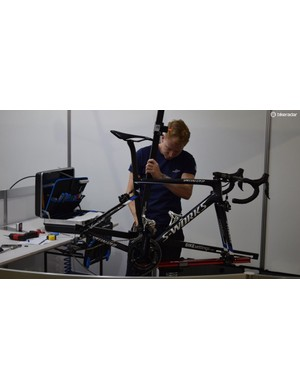 Each bike needs to be built and setup accurately for each rider following shipping the bikes to Australia for the WorldTour opener