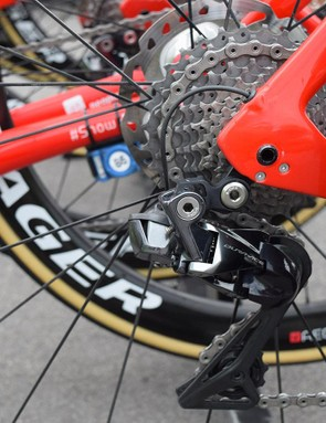 The rear derailleur hanger sits on the inside of the rear dropout area