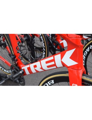 Huge Trek decals dominate the down tube on the frameset