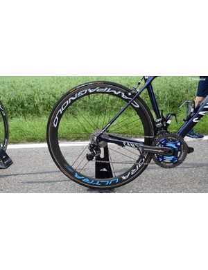 Movistar's Campagnolo Bora Ultra 50 wheels have been given team issue blue decals to match the Canyon framesets