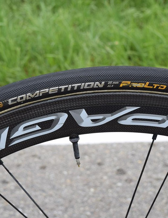 Movistar is one of several WorldTour teams to use 25mm Continental Competition ALX tubular tyres