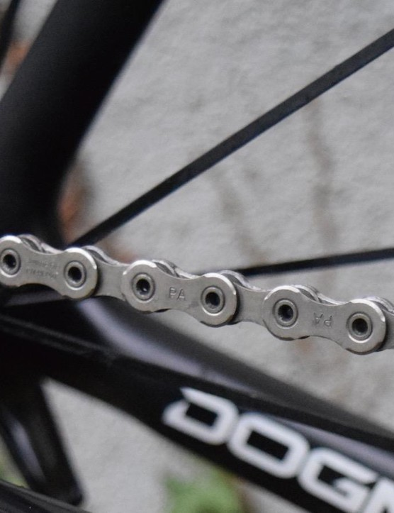 Shimano's Dura-Ace chains feature hollow link pins to reduce the overall weight