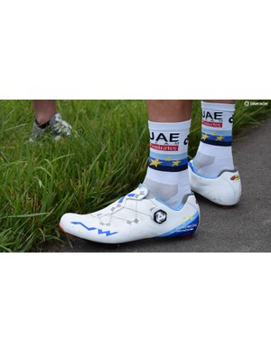 Alexander Kristoff appears to have cut part of the tongue off of his custom Northwave shoes, likely for a personal fitting preference