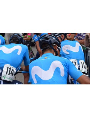 Each Movistar rider has their social media handle on the rear panel of their jerseys