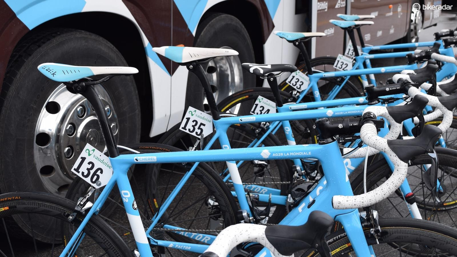The AG2R La Mondiale blue Factor O2 frames stand out in the peloton