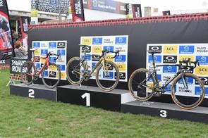 2018 Paris-Roubaix podium bikes: Sagan's S-Works Roubaix, Dillier's Factor O2 and Terpstra's S-Works Tarmac