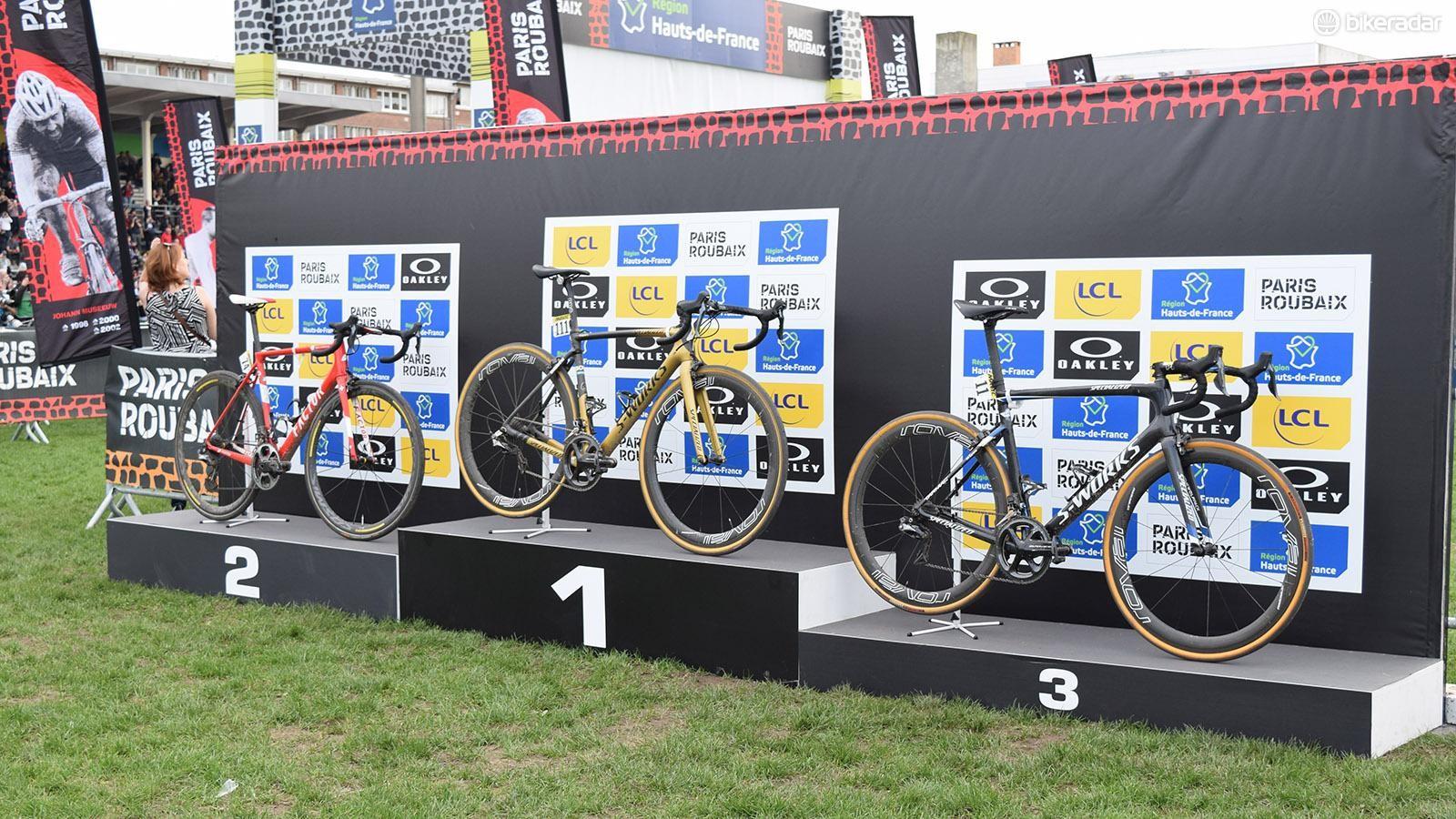 The Paris-Roubaix 2018 podium bikes: Sagan's S-Works Roubaix, Dillier's Factor O2 and Terpstra's S-Works Tarmac