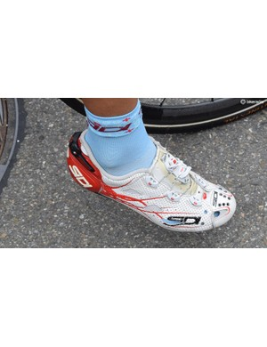 Simon Spilak has made several holes in his Sidi Shot shoes for better fit and improved ventilation
