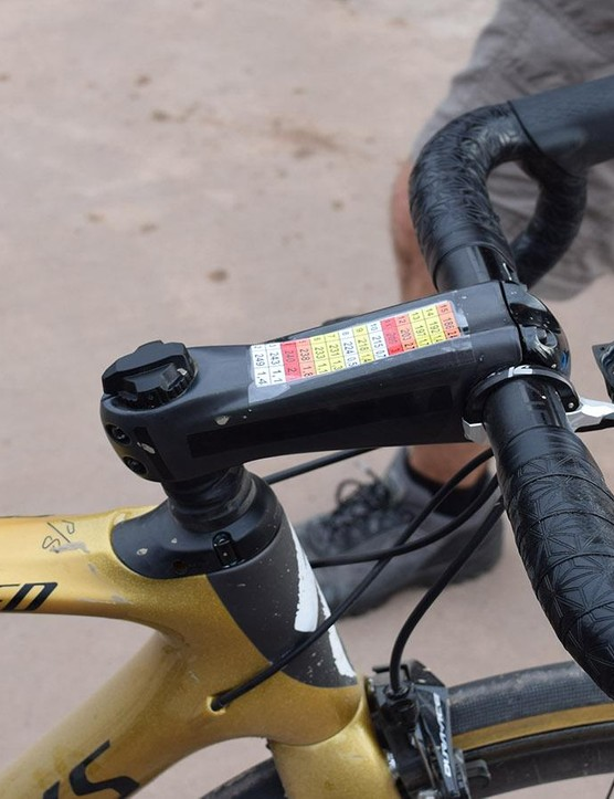 Sagan used a Zipp Sprint SL stem, although masked the branding out of respect to his sponsors