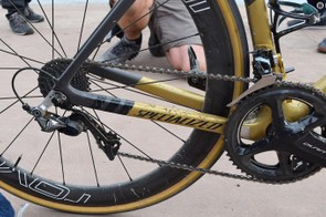 Rough roads and dirty conditions result in a tired looking drivetrain after 257km of racing