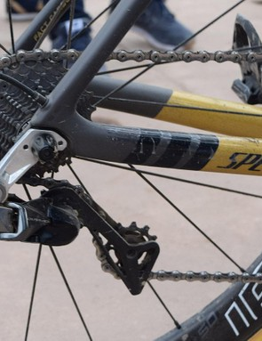 Sagan ran a standard 11-28 cassette and a Shimano direct-mount derailleur hanger