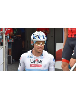 Kristoff's sunglasses are colour-coordinated to his European champion's kit