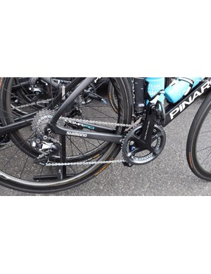 For the wet and cold race, Team Sky had extra chain lube on its drivetrains